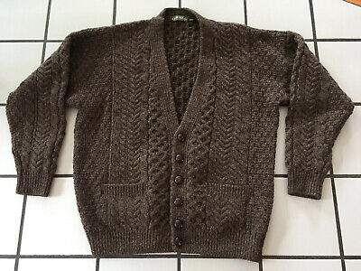 Orvis Ireland Wool Shawl Collar Fisherman Cable Knit Cardigan Sweater Size L