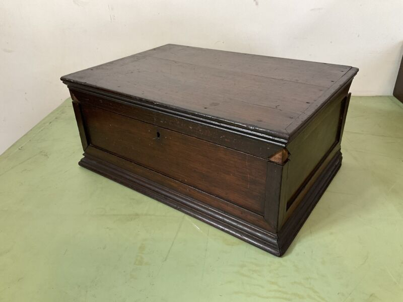 Early Antique Fine Walnut Document Valuables Letter Seed Box  applied molding