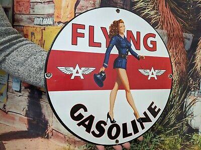OLD VINTAGE FLYING A AVIATION GASOLINE MOTOR OIL PORCELAIN ENAMEL GAS PUMP SIGN