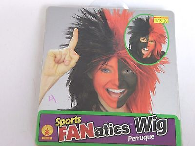 Deluxe Black & Red Sports Fan Wig Halloween Costume Rubies Trick Or Treat - Halloween Sports Fan