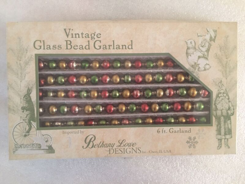 Bethany Lowe Vintage Red Green Gold Glass Bead 6' Christmas Garland #LG5641G