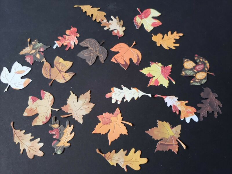 20 Assorted fall leaves Paper Die Cut embellishments