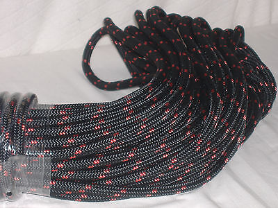Double Braid Polyester Line 716x150 Ft Black Red Tracers