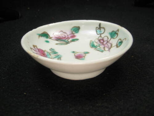ANTIQUE CHINESE (c. 1920) CERAMIC HAND PAINTED FLORAL SAUCE MUSTARD DISH