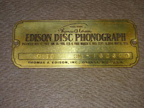 Edison Diamond Disc Phonograph Name Plate, C 19, Gold Plated Brass, Nice