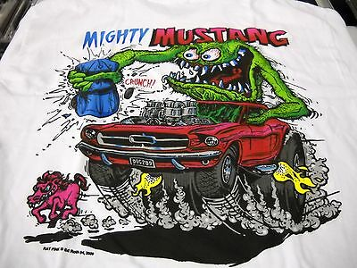 Mustang White Shirt - Rat Fink Mighty Mustang Ford Ed Roth t shirt S-XXX white tee