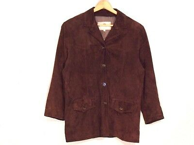 Por Santa Maria Italy VTG soft suede leather brown jacket / women fits L / b8