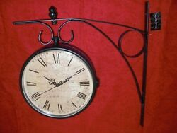 DOUBLE SIDED HANGING WALL MOUNT CLOCK WROUGHT IRON BRACKET CREATIVE CO-OP NEW