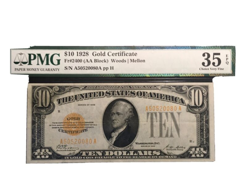 10.00 Gold Certificate Fr2400 1928 PMG 35 EPQ White And Bright