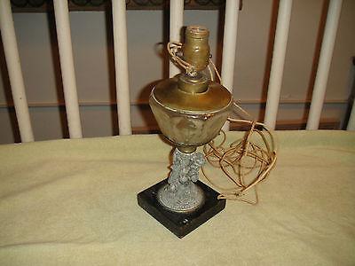 Raised Base Table Lamp - Antique Art Deco Table Lamp-Cherub Base-Raised Floral Pattern Glass-Unusual