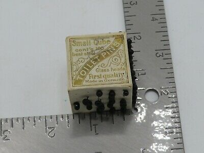 Vintage Small Cube Toilet Pins Glass Heads Germany Paper Pin Cushion Sewing  P5