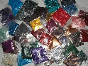 30 Bags of Assorted Solvent Resistant Glitter polish nail art lot mix grab bag