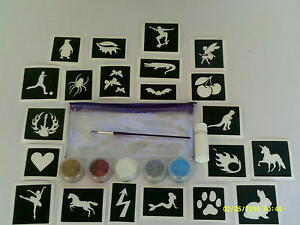 50-mixed-stencils-in-bag-glitter-glue-glitter-tattoos-girls-boys