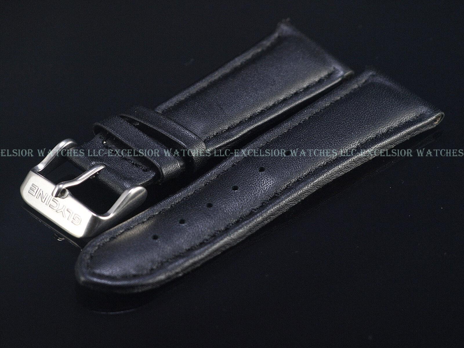 Neues OEM Glycine Uhrenarmband 24MM Leder Schwarz XS