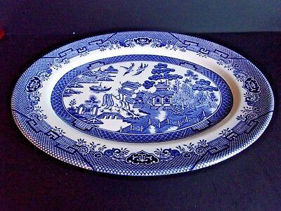 Long Blue Willow (Churchill Blue Willow Pattern Oval Serving Platter 12