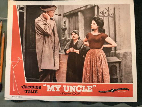"""My Uncle 1958 Continental 11x14"""" lobby card Jacques Tati Betty Schneider"""