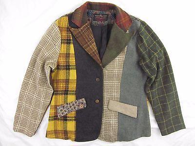 Sacred Threads Wool Patchwork Blazer Jacket - Size Small / Medium - Patch Plaid