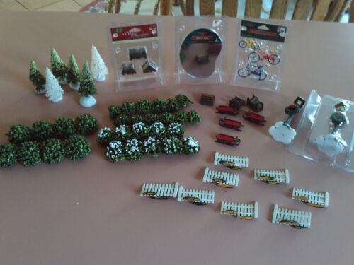 Lot Lemax Christmas Village Accessories - Shrubs-Sleds-Mirror Lake-Bikes-Fence