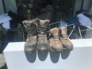 2 pairs wet weather hiking boots (military and casual style)