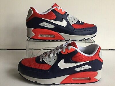 "NIKE AIR MAX 90 ID NAVY BLUE/RED/WHITE -GREY ""MESH TOE"" MNS.SZ.10"