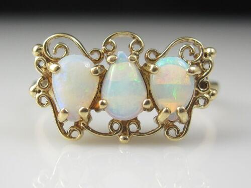 Antique Opal Ring DASON Scroll Filigree Estate 10K Yellow Gold Vintage Size 8.5