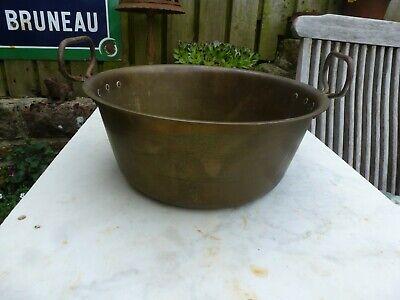 Vintage brass jam pan planter trough tub handle  garden kitchen plant pot