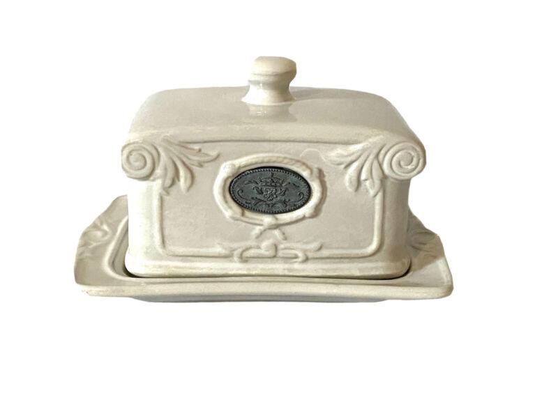 Vintage THL Classic Farmhouse Butter Dish White GUC