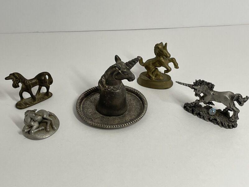 Lot of Unicorns pewter and metal Hudson pewter brass
