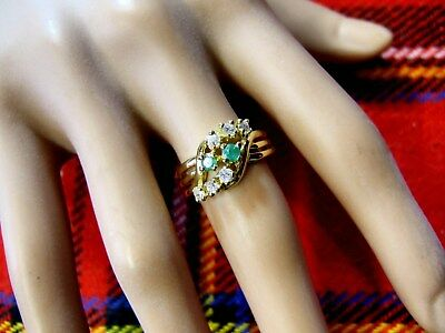 18 ct gold second hand emerald & CZ cluster ring