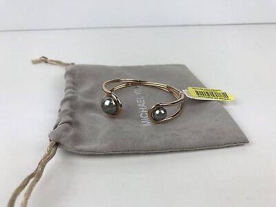 Michael Kors Modern Classic Pearl Rose Gold-Tone and Grey Pearl Flex Bracelet