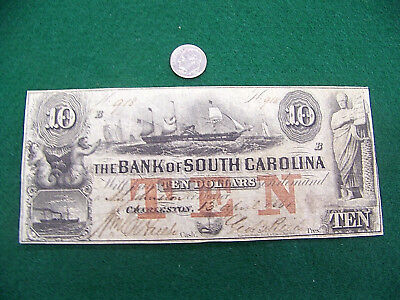 1861  10 Bank Of South Carolina Sc   Nice Unc Note   Free Ship