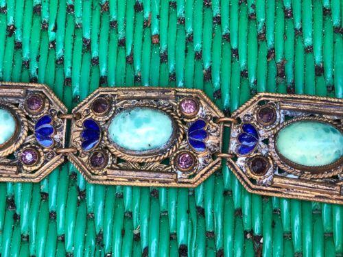 Vintage Antique Chinese Export  JADE GOLD Gilt  Filigree Bracelet