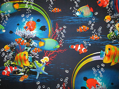 - CLOWNFISH ANGEL FISH TROPICAL OCEAN FISH COTTON FABRIC FQ