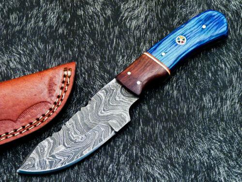 CUSTOM HAND FORGED DAMASCUS STEEL FULL TANG SKINNING KNIFE - HARD WOOD - TM-9470