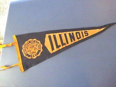 1920's or 1930's University of Illinois Sewed Pennant , Nice