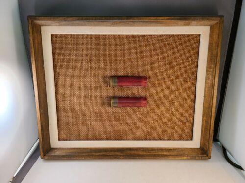 Vintage Folk Art Framed Federal Paper Shotgun Shells On Burlap