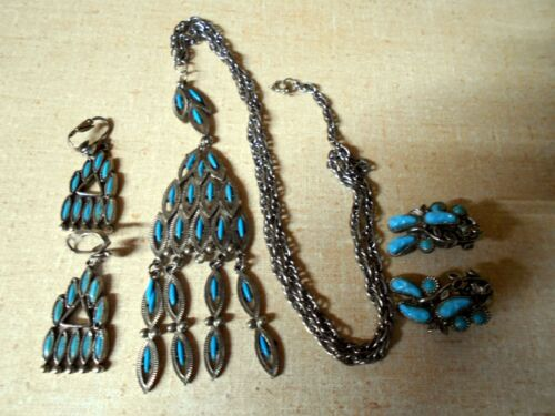 VTG Faux Turquoise South Western Style Necklace and 2 sets Clip On Earrings