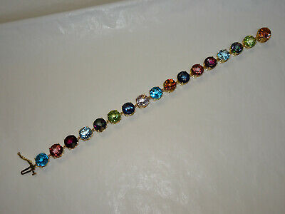14K yg Multi-Color Gemstone Bracelet - 15.3 Grams - 7.0