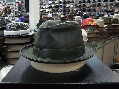 Borsalino Leather - BORSALINO GENUINE LEATHER DARK GREEN FEDORA HAT (READ DESCRIPTION FOR SIZE)