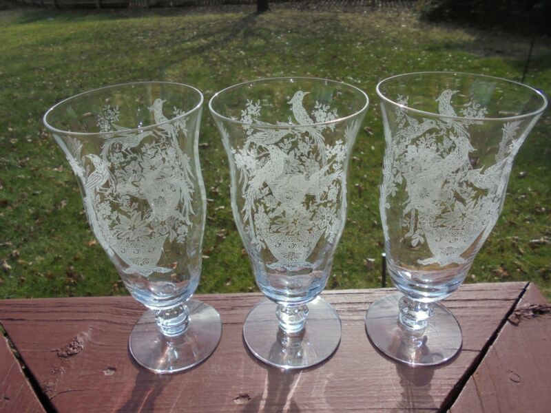 "3 Vintage Tiffin Franciscan Persian Pheasant Iced Tea Goblets 6 3/4"""