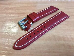 High Quality Leather Watch Strap 20mm Red White Stitching - España - High Quality Leather Watch Strap 20mm Red White Stitching - España