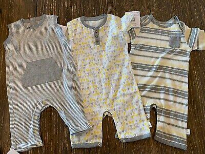 BURTS BEES BABY- set of 3 BOYS JUMPSUIT ROMPER, 24 months
