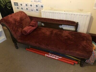 Edwardian Antique Chaise Lounge With Cushion Dark Red Carved Wooden Legs