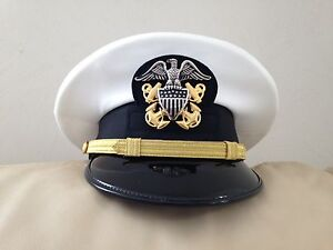 Details about US NAVY DRESS WHITE UNIFORM - NEW OFFICER VISOR HAT-