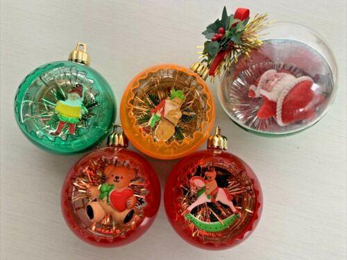 Vintage Christmas Jewel Brite Plastic Diorama Ornaments Santa Frosty Elf Lot 5