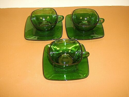3 Sets Anchor Hocking Forest Green Charm Square Cups & Saucers