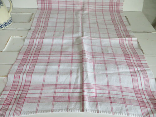 Towel Linen  Antique Handwoven Linen  Red Stripes  Table  Runner German Vintage