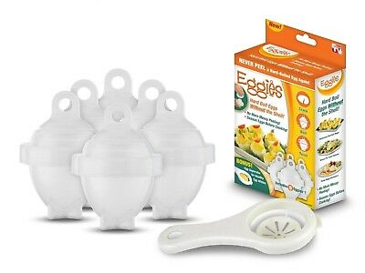 Eggies 6+1 Hard Boiling Cups With Free Egg White Separator Plastic Material New