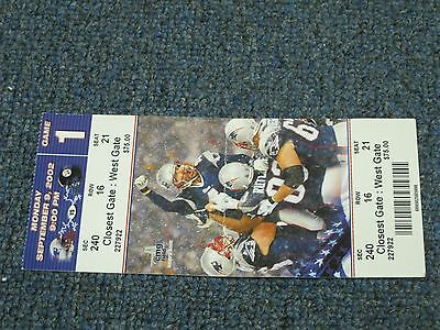 Sept 9, 2002 New England Patriots vs Pittsburgh Steelers Game 1 Ticket 2
