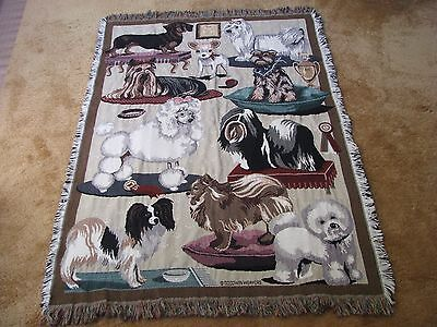 Goodwin Weavers Dog Breeds First In Show MultiColor Cotton Fringe Throw Blanket